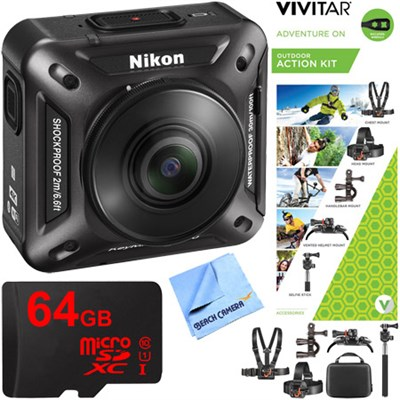 KeyMission 360 4K Ultra HD Action Camera w/ Built-In Wi-Fi + Outdoor Action Kit