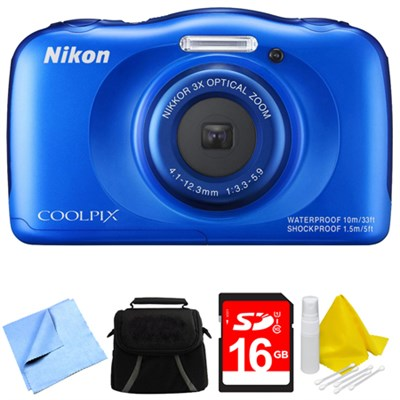 COOLPIX S33 13.2MP Waterproof Shockproof Freezeproof Digital Camera Blue Bundle
