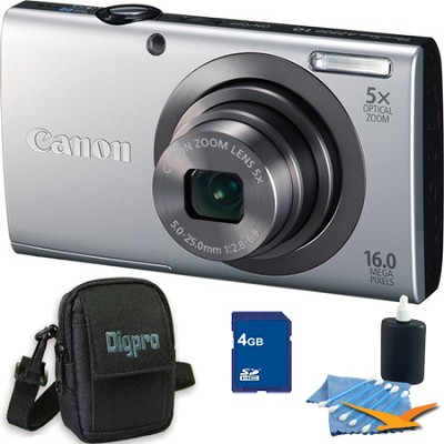 PowerShot A2300 16MP Silver Digital Camera 4GB Kit