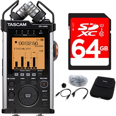 Portable Recorder with XLR and Wi-fi DR-44WL Accessory Pack Bundle