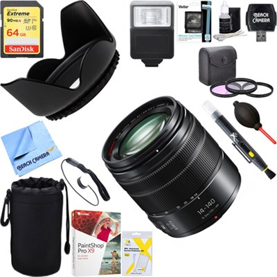 LUMIX G VARIO 14-140mm F3.5-5.6 ASPH. POWER Lens + 64GB Ultimate Kit