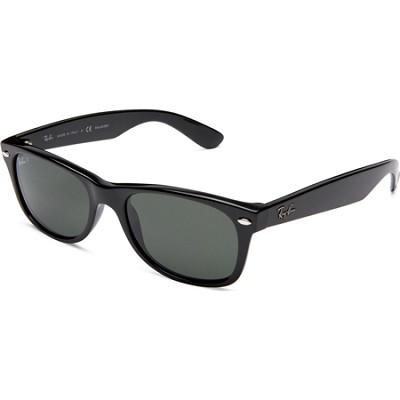 New Wayfarer Black Frame, Polarized Green Lens 52mm Sunglasses