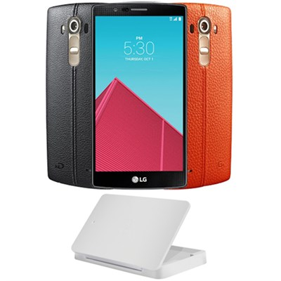 US991 G4 32GB Unlocked Smartphone w/ Dual Leather Cover + Charging Cradle Bundle