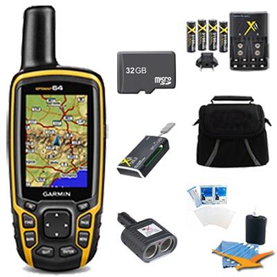 GPSMAP 64, Worldwide Handheld GPS Navigator 32GB Accessory Bundle - 010-01199-00