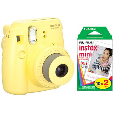 Instax 8 Color Instax Mini 8 Instant Yellow Camera and 5 Pack Film Kit