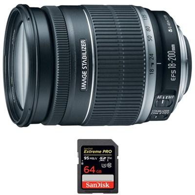 EF 18-200mm F/3.5-5.6 Image Stabilizer Lens + Sandisk 64GB Memory Card