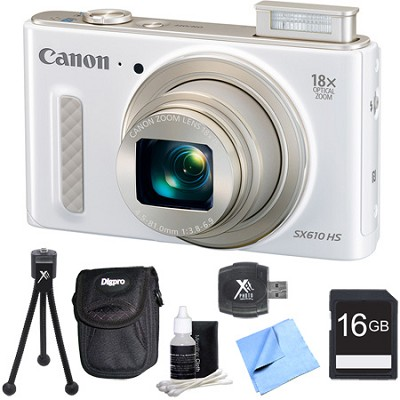 PowerShot SX610 HS 20.2 MP Digital Camera 18x Zoom 3-inch LCD White 16GB Bundle