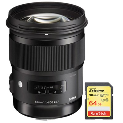 50mm f/1.4 DG HSM Lens for Sony A Cameras with Sandisk 64GB Memory Card