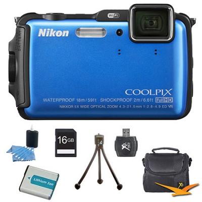 COOLPIX AW120 16MP Waterproof Shockproof Freezeproof Blue Digital Camera Kit