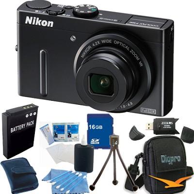 Coolpix P300 12MP F1.8 Black Digital Camera 16GB Bundle