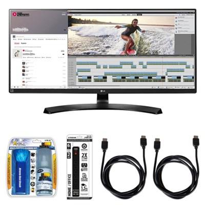 UltraWide WQHD IPS LED 34` Monitor w/ Accessory Hook up Bundle