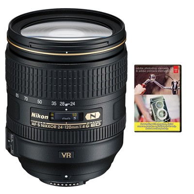 24-120mm f/4G ED VR AF-S NIKKOR Lens for Nikon DSLR With Adobe Elements Bundle