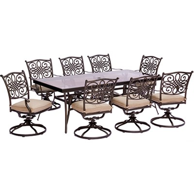 Traditions 9PC Dining Set:8 Swivel Chairs and 42 x84  Glass Table