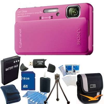 Cyber-shot DSC-TX10 Pink Digital Camera 16GB Bundle
