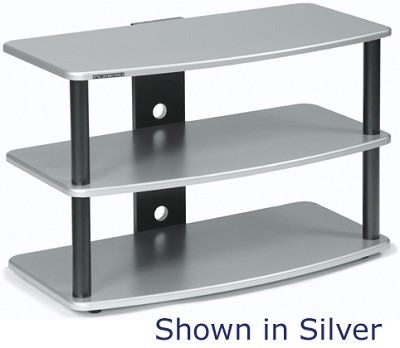 SF-3V Audio/Video Television Stand (Red Mahogany) w/ Silver Steel Posts