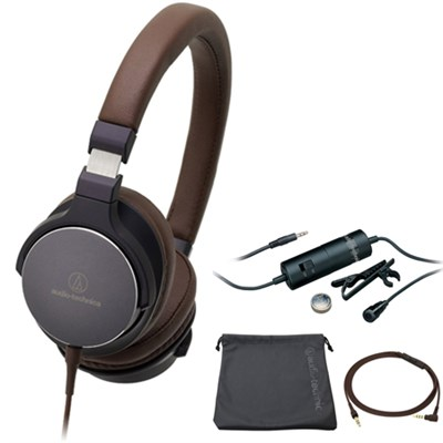On-Ear High-Resolution Audio Headphones Navy/Brown ATH-SR5NBW with Microphone