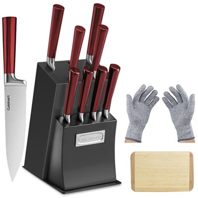 11 Pcs Vetrano Collection Cutlery Knife Block Set Red + Gloves & Board