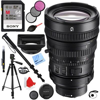 28-135mm FE PZ F4 G OSS Full-frame E-mount Zoom Lens (SELP28135G) + 64GB Kit