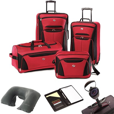 Fieldbrook II Four-Piece Luggage Set Red/Black 56444-1733 w/ Travel Kit