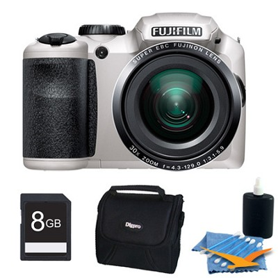 FinePix S6800 16 MP 30x Wide Angle Zoom Digital Camera White 8GB Kit