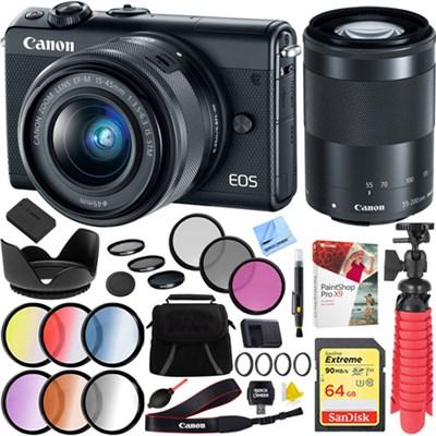 EOS M100 24.2MP Digital Camera EF-M 15-45mm & 55-200mm IS STM Lens (Black) Kit