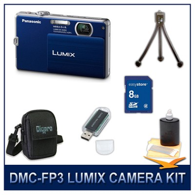 DMC-FP3AB LUMIX 14.1 MP Digital Camera (Dark Blue), 8GB SD Card, and Camera Case
