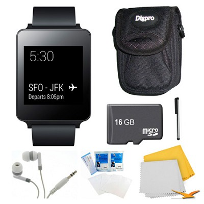 Android Wear Black Smart G Watch, 16GB Card, and Case Bundle