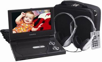 D1988PK 9-Inch Slim Line Portable DVD Player with Bonus Headphones and Car Kit