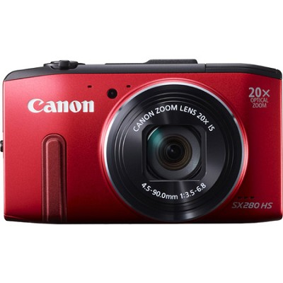 PowerShot SX280 HS Red Digital Cam. 20x Opt. Zoom, 1080p Video, Wi-Fi - OPEN BOX