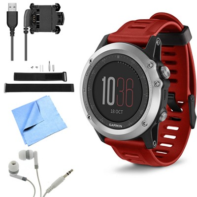 fenix 3 Multisport Training GPS Watch Silver Wrist Strap Kit Bundle