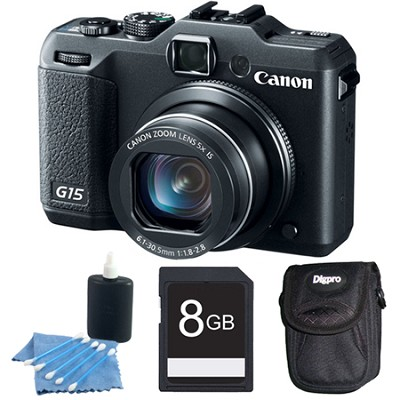 Powershot G15 12 MP High-Performance Digital Camera 8GB Bundle