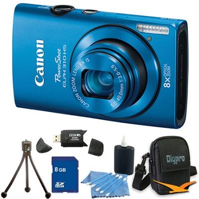 PowerShot ELPH 310 HS 12MP Blue Digital Camera 8GB Bundle