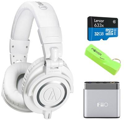 ATH-M50X Professional Studio White Headphone w/ BlackHat Tech Power Bank Bundle