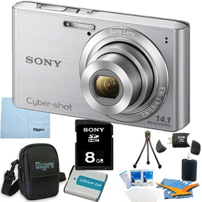 Cyber-shot DSC-W610 Silver 8GB Digital Camera Bundle