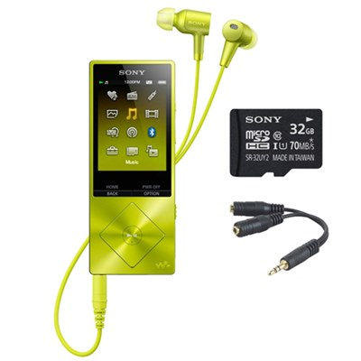 32GB Hi-Res Walkman Digital Music Player - Yellow w/ 32GB Memory Card Bundle