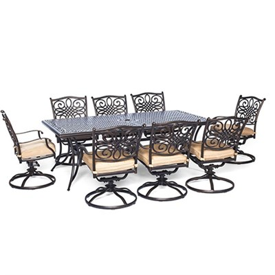 Traditions 9-Piece Dinning Set with Swivel Chairs - TRADDN9PCSW-8