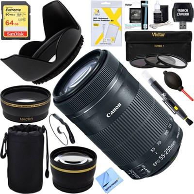 EF-S 55-250mm f/4-5.6 IS STM Lens (8546B002)+ 64GB Ultimate Filter Bundle
