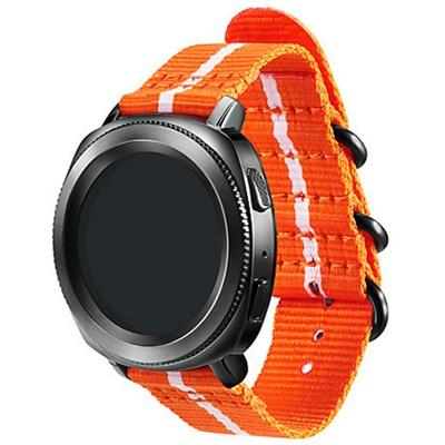 Premium Nato Strap for Gear Sport (20mm)- Orange w/ White - GPR600BREECAD