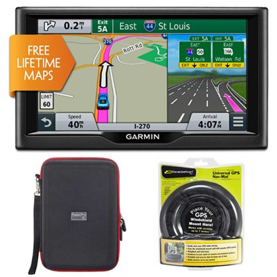 nuvi 67LM 6` Essential Series 2015 GPS w Lifetime Maps Mount & Case Bundle