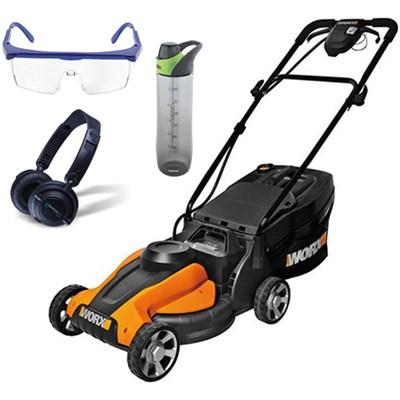 24V Cordless 14` Lawn Mower w/ HP23 Headphones, 24oz Bottle & Safety Glasses Kit