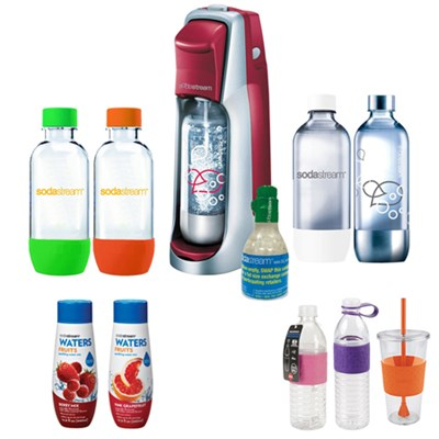 Fountain Jet Soda Maker in Red with Exclusive Kit w/ 4 Bottles & Starter CO2