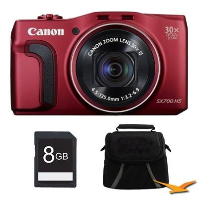 PowerShot SX700 HS 16.1MP HD 1080p Digital Camera Red 8GB Kit