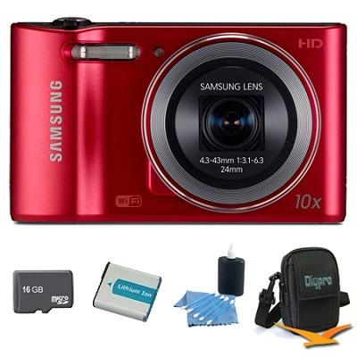 WB30F 16.2 MP 10x optical zoom Digital Camera Red 16GB Kit