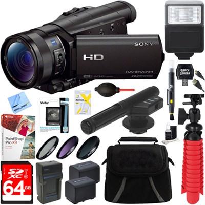 HDR-CX900/B HD Camcorder + 64GB Mini Microphone & Accessory Bundle