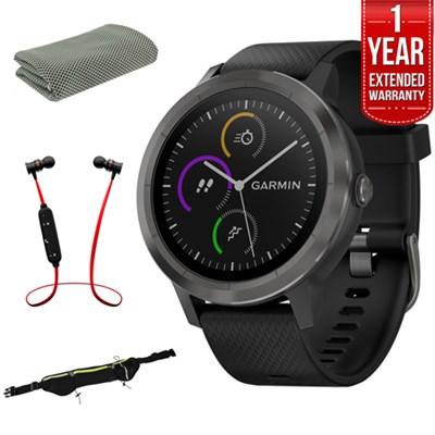 Vivoactive 3 GPS Fitness Smartwatch (Black & Gunmetal) + Warranty Bundle