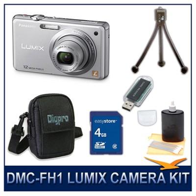 DMC-FH1S LUMIX 12.1 MP Digital Camera (Silver), 4G SD Card, Card Reader & Case