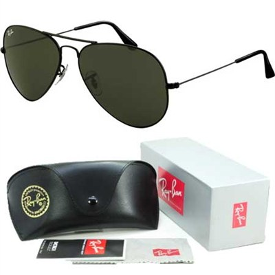 Aviator Classic Metal Sunglasses Black 58mm
