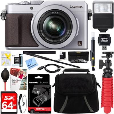 LX100 LUMIX Integrated Leica DC Lens Silver Camera + 64GB Memory & Travel Bundle