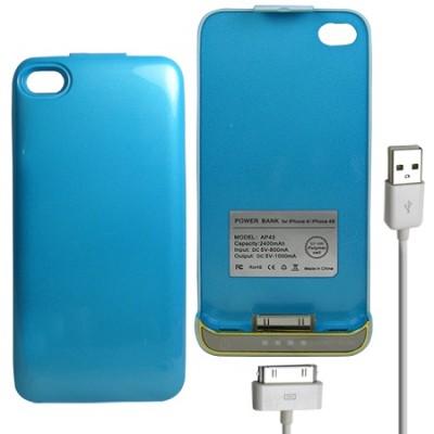iPhone 4/4S Battery Case 2400mAh - Blue