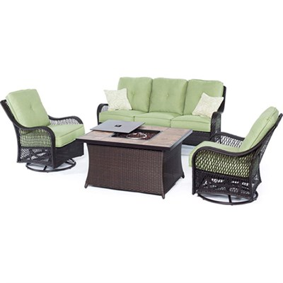 Orleans 4-Piece Woven Fire Pit Set in Avocado Green - ORLEANS4PCFP-GRN-B